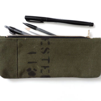 Recycled Pencil Case Zip Pouch Military Canvas