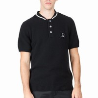 RAF SIMONS X FRED PERRY  KNITTED BOMBER NECK SHIRT - MEN - TOPS - RAF SIMONS X FRED PERRY