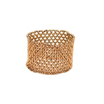 Stretchy Metal Bead Cuff Bracelet - Gold