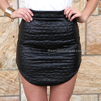 QUILTED PLEATHER SKIRT  , DRESSES, TOPS, BOTTOMS, JACKETS & JUMPERS, ACCESSORIES, SALE, PRE ORDER, NEW ARRIVALS, PLAYSUIT,,Skirts Australia, Queensland, Brisbane