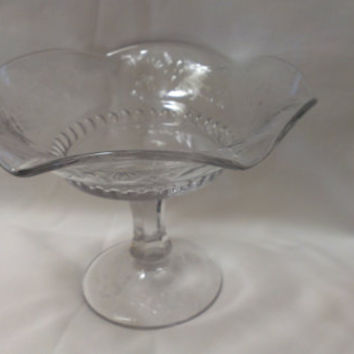 Glass Compote with Scalloped Edge, Fruit or Candy Dish (617)