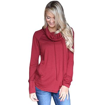 Burgundy Drawstring Cowl Neck Sweatshirt
