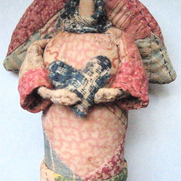 "Angel-OOAK Primitive Folk Art Prairie Angel-""TENDER HEART""-Original Design from Vintage, Olde Quilt w/Antique Coverlet Scarf & Heart"