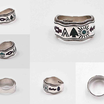 Vintage Carolyn Pollack Sterling Silver Storyteller Band Ring, Carlisle Jewelry, Inlaid, Southwestern, Symbols, Wavy, Size 6 #c572
