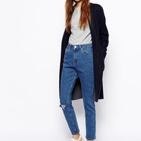 ASOS Farleigh High Waist Slim Mom Jeans in Clean Mid Wash Blue with Ri