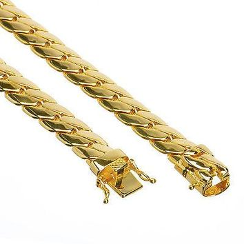 Jewelry Kay style Men's 14K Gold Plated Cuban Link Chain Necklace Box Clasp Safety Lock 10 mm 26""