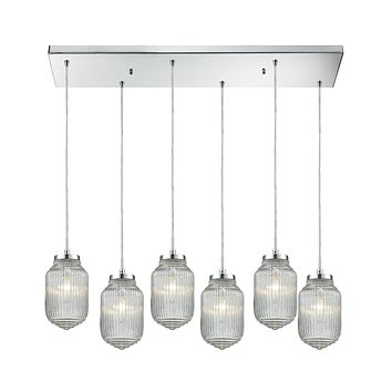 Dubois 6-Light Rectangular Pendant Fixture in Polished Chrome with Clear Ribbed Glass