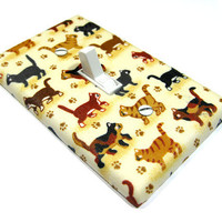 Tabby Cat Lover Light Switch Cover Switchplate Switch Plate Brown Cream  Decor LAST ONE 574