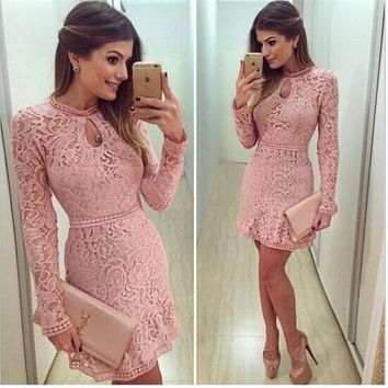 ESBONX5H Lace Hollow Out Long Sleeves Mini Party Dress