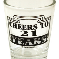 Cheers To 21 Clear Shot Glass