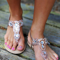 Jewel Be My Best Friend Sandals: Rose Gold | Hope's