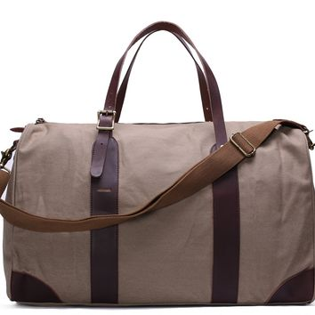 BLUESEBE WAXED CANVAS TRAVEL DUFFLE BAG WITH LEATHER TRIM YD2095-LG