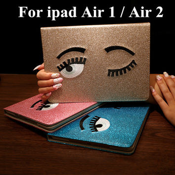 Smart Case For Apple iPad 5 ipad 6 Glitter Shining Big Eyes Design protection Case Wake up/Sleep Function for ipad air 1 air 2