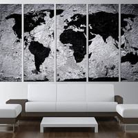 large World map canvas print, black and white world map wall art, large canvas, extra large wall art, black and white wall art t523