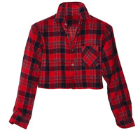 Red Plaid Flannel Crop Top
