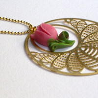 READY TO SHIP for Valentine's day: Gold plated pink tulip pendant