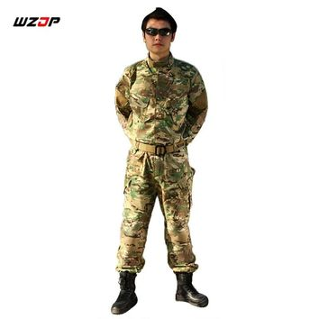 WZJP Army Military Tactical Uniform Shirt + Pants CP Camouflage Combat Uniform US Army Men's Clothing Suit Airsoft Hunting