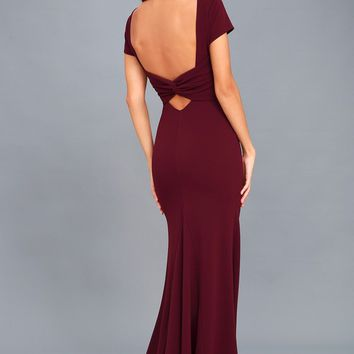Endless Love Burgundy Backless Maxi Dress