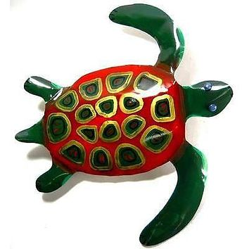"Hand Painted 24"" Sea Turtle nautical decor wall hanging art sculpture steel #1"