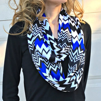 Infinity Double Layered Soft Chevron Scarf - Black, White and Royal Blue Chevron Print