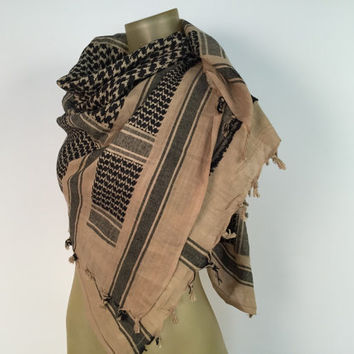 Iraq Head Scarf Natural Tan Fringed Shawl Houndstooth Beige Black Middle East Shawl Large Square Scarf Boho Bohemian Wrap Ethnic Playa Wear