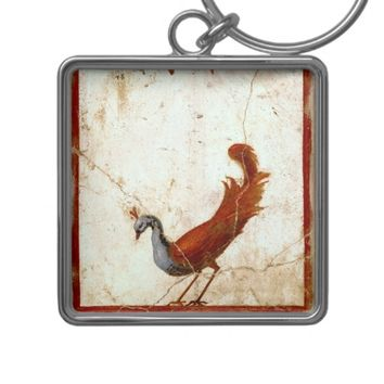 Peacock on Fresco Antique Painting Keychain