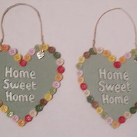 Homemade Home Sweet Home Heart Plaque buttons olive green multi coloured buttons  home decor  made with love
