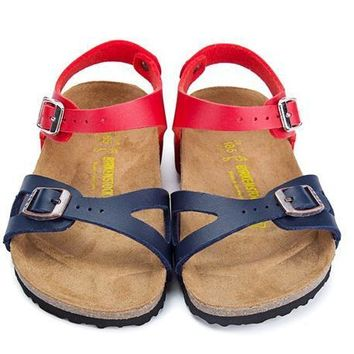 Birkenstock Leather Cork Flats Shoes Boys and girls Casual Sandals Shoes Soft Footbed Slippers-3