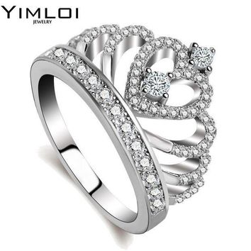 PEAPYV3 100% 925 Sterling Silver Color My Princess Queen Crown Engagement Ring for Women with Clear CZ Sterling Silver Jewelry RA017