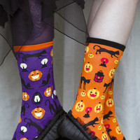 Socks by Sock Dreams » .Socks » Anklets » Pumpkin & Black Cat Crew