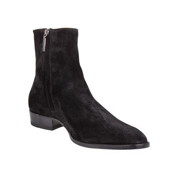 Black Calf Suede Boots by Saint Laurent