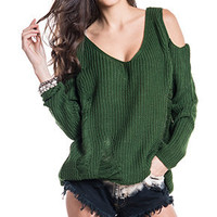 Army Open Shoulder Sweater