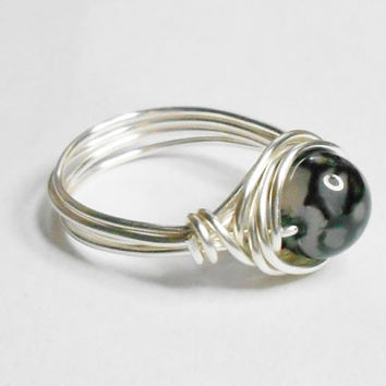 Black Dragon Veins Silver Plate Wire Wrapped Ring Sizes 1-14