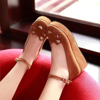 Japanese Style Lolita Shoes Lovely Cat Slipsole Flatform Shoes Free Shipping