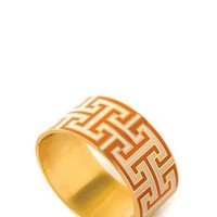 Spartina Greek Key Hinged Bangle - Orange