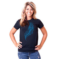 Peacock Feather American Apparel Womens Fine Jersey Tee