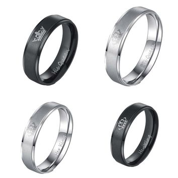 Cool 1 PC King and Queen Stainless Steel Ring - His and Hers Couple Wedding Band Set Anniversary Engagement Promise RingAT_93_12