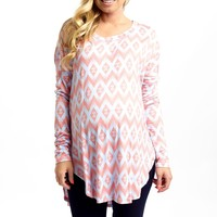 Pale Blue Pink Diamond Print Long Sleeve Maternity Top