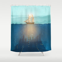 The Underwater City that was destroyed before the whale got to the ship. Shower Curtain by Viviana Gonzalez | Society6