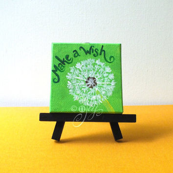 "Make A Wish, Mini Dandilion Canvas Painting, 3""x3"" Magnet or Easel options"