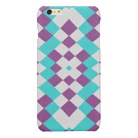 Aqua Violet Textile Abstract Geometric Cute Glossy iPhone 6 Plus Case