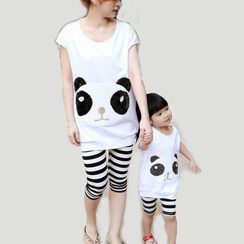DCCKWQA 2016 Summer New Parent-Child Matching Outfits Mother Daughter Panda Sequined Clothing Set Mom and Me Cotton Striped Family Looks