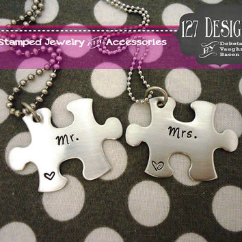 Mr and Mrs Puzzle Piece Necklace Set - Hand Stamped Stainless Steel SHIPPED in 10-14 Days, SHIPPING TIME 3-5 Days