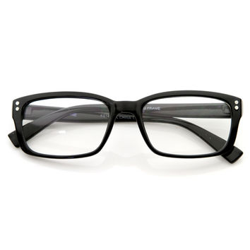 Premium RX Optical Square Rivet Frame Clear Lens Eyeglasses 8033