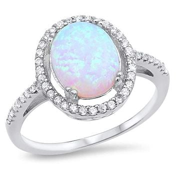 Oval White Lab Opal with Clear Cubic Zirconia Stones Halo Wedding Ring