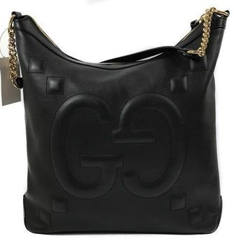 Gucci Apollo Embossed GG Dadini Black Leather Medium Hobo Handbag  453562