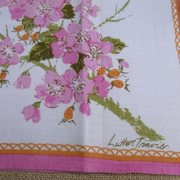 Vintage Luther Travis Linen Kitchen Towel Cherry Blossoms and Butterfly