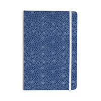 """Julia Grifol """"White Flowers on Blue"""" Navy Blue Everything Notebook"""