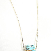 natural flat stone chain necklace - turquoise