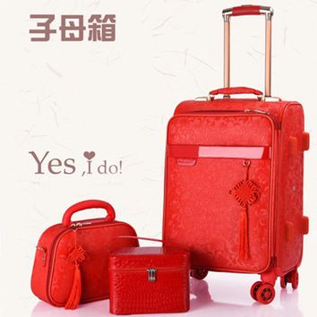 """Red suitcase wedding trolley case Woman luggage bride dowry box Classic 20""""24""""inch Travel Suitcase set  Spinner wheel Travel bag"""